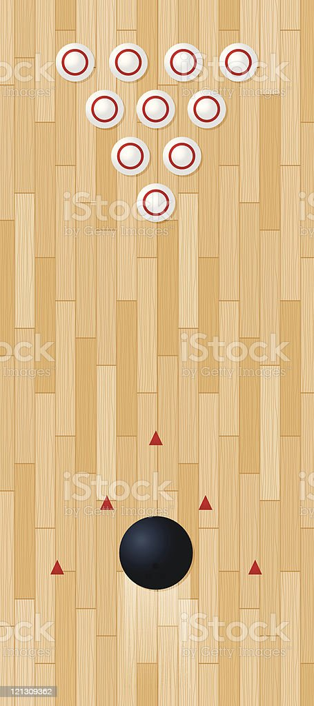 Bowling lane viewed from above vector art illustration