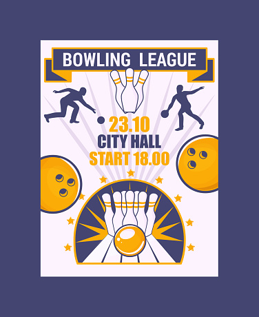 Bowling league banner, poster vector illustration. Ball crashing into the pins,getting strike. Bowling city hall tournament. Winner of championship. Victory. First place.