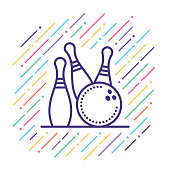 Line vector icon illustration of bowling score.