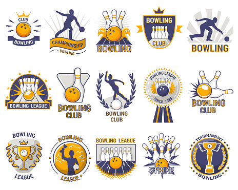 Bowling logo vector bowler sport game with alley or bowling ball skittles and strike on tournament or league in bowl club isolated on white background