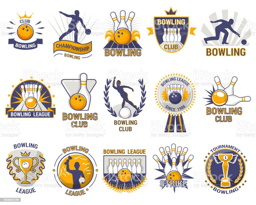 Bowling logo vector bowler sport game with alley or bowling ball skittles and strike on tournament or league in bowl club isolated on white background vector art illustration