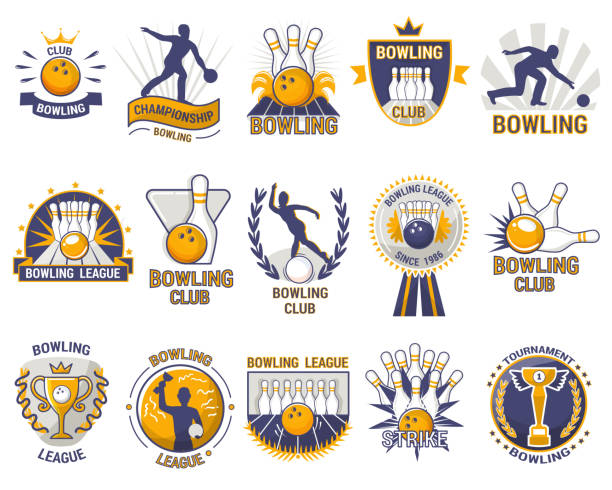 bowling logo vector bowler sport game with alley or bowling ball skittles and strike on tournament or league in bowl club isolated on white background - piłka stock illustrations