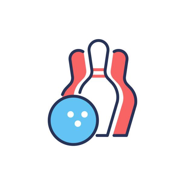 Bowling - modern vector line design single icon. vector art illustration