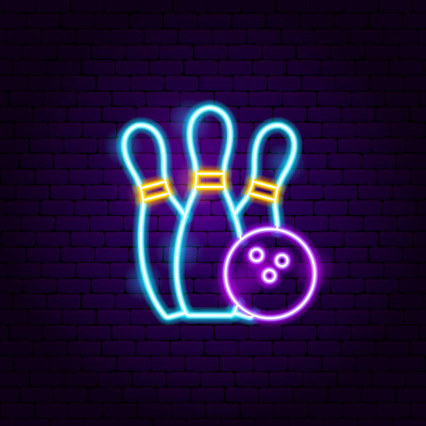 Bowling Neon Label Bowling Neon Label. Vector Illustration of Sport Promotion. ten pin bowling stock illustrations