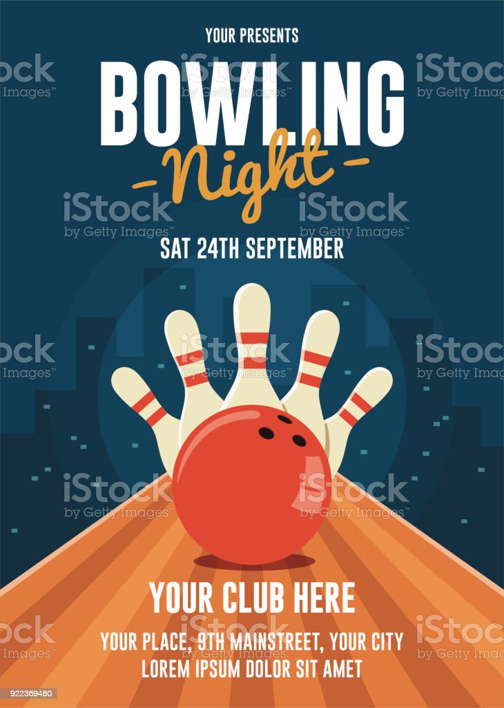 Bowling Night Flyer Template vector art illustration