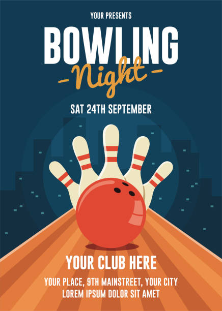 Bowling Night Flyer Template A4 flyer template, CMYK color mode ten pin bowling stock illustrations