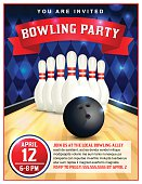 Bowling Party Flyer Template Illustration
