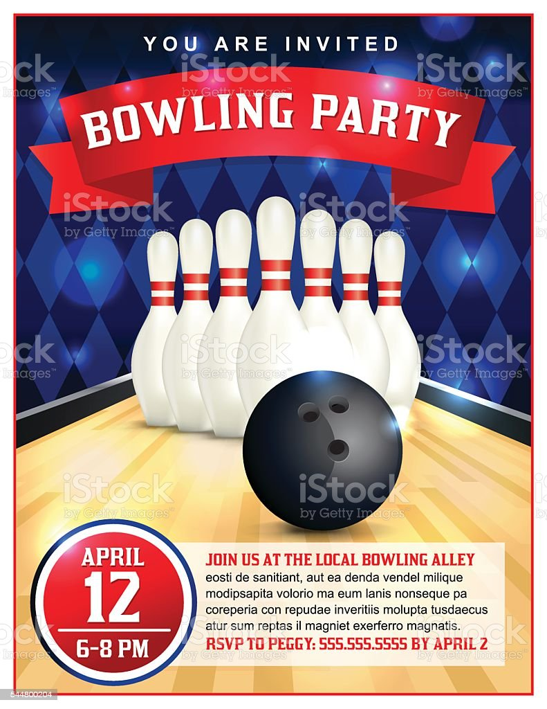 Bowling Party Flyer Template Illustration vector art illustration