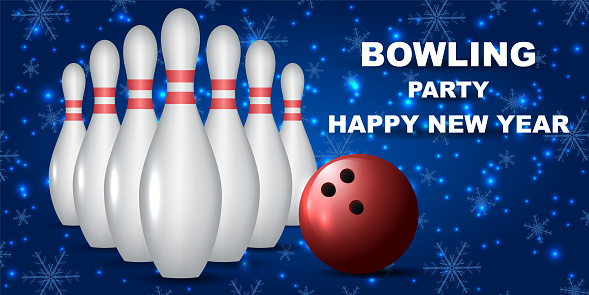 Bowling party happy new year. Bowling banner for new year games. White skittles and red ball on a festive Christmas background.