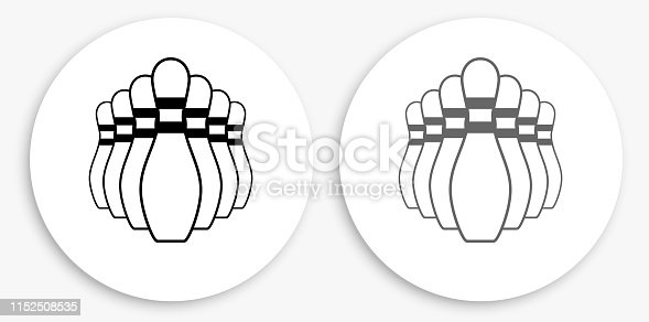 Bowling Pin Black and White Round Icon. This 100% royalty free vector illustration is featuring a round button with a drop shadow and the main icon is depicted in black and in grey for a roll-over effect.