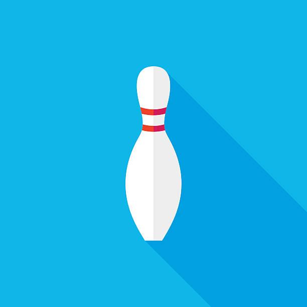 Bowling Pin Flat Long Shadow Icon vector art illustration