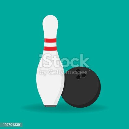 istock Bowling Pin Icon Isolated on White Background 1297013391