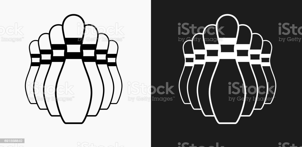 Bowling Pin Icon on Black and White Vector Backgrounds vector art illustration