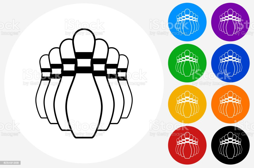 Bowling Pin Icon on Flat Color Circle Buttons vector art illustration