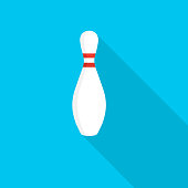 Bowling pin icon with long shadow on blue background, flat design style