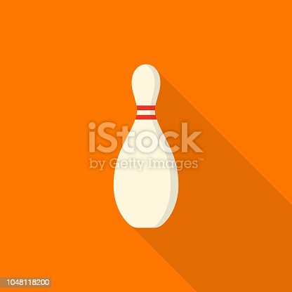 Bowling pin icon with long shadow on orange background, flat design style