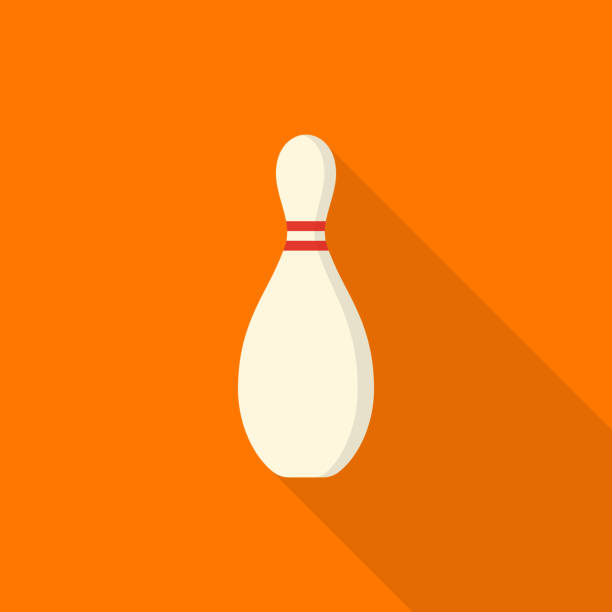 Bowling pin icon with long shadow on orange background, flat design style vector art illustration