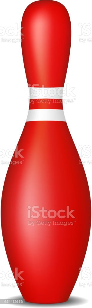 Bowling pin in red design with white stripes vector art illustration