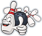 Vector Illustration of a bowling pin mascot giving an enthusiastic thumbs up. File saved on layers for easy editing.