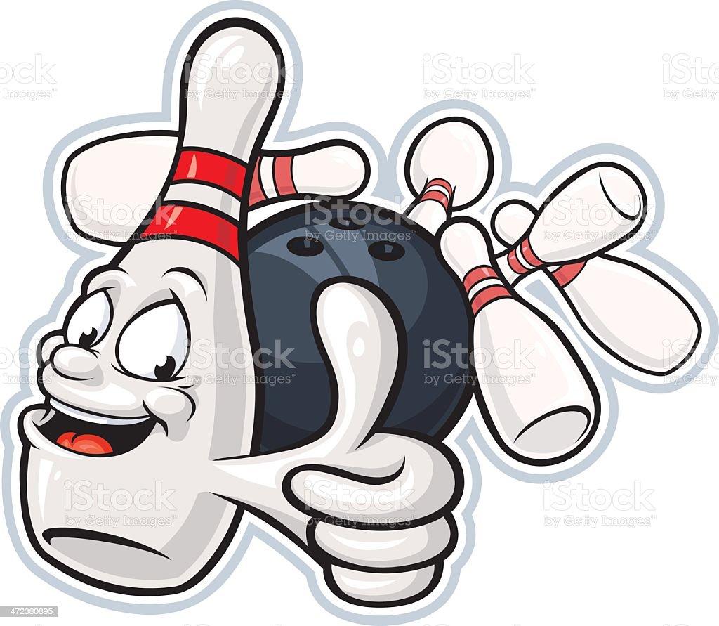 Bowling Pin Mascot vector art illustration