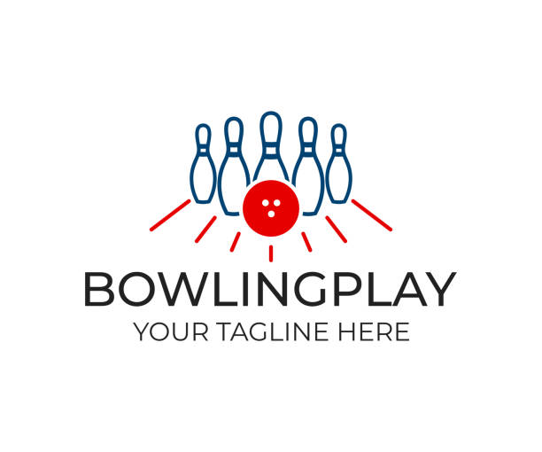 bowling pin with ball and white pins for game, icon template. playing bowling, game, leisure and sport, vector design. entertaining bowling club, illustration - piłka stock illustrations