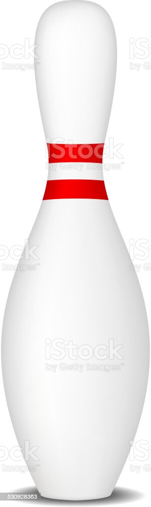 Bowling pin with red stripes vector art illustration