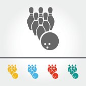 Bowling Pins and Ball Single Icon Vector Illustration