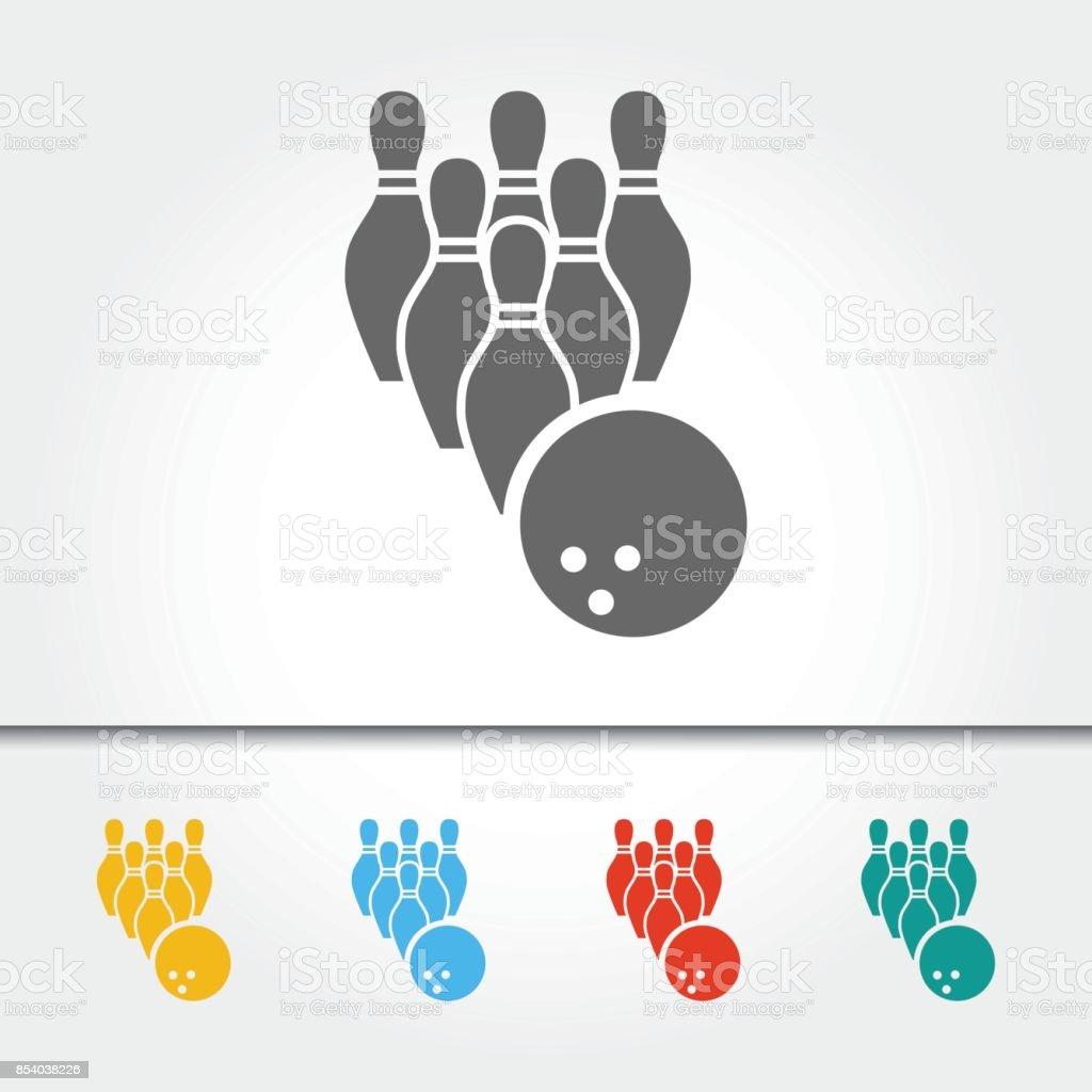 Bowling-Pins und Ball einzelnes Symbol Vektor-Illustration – Vektorgrafik
