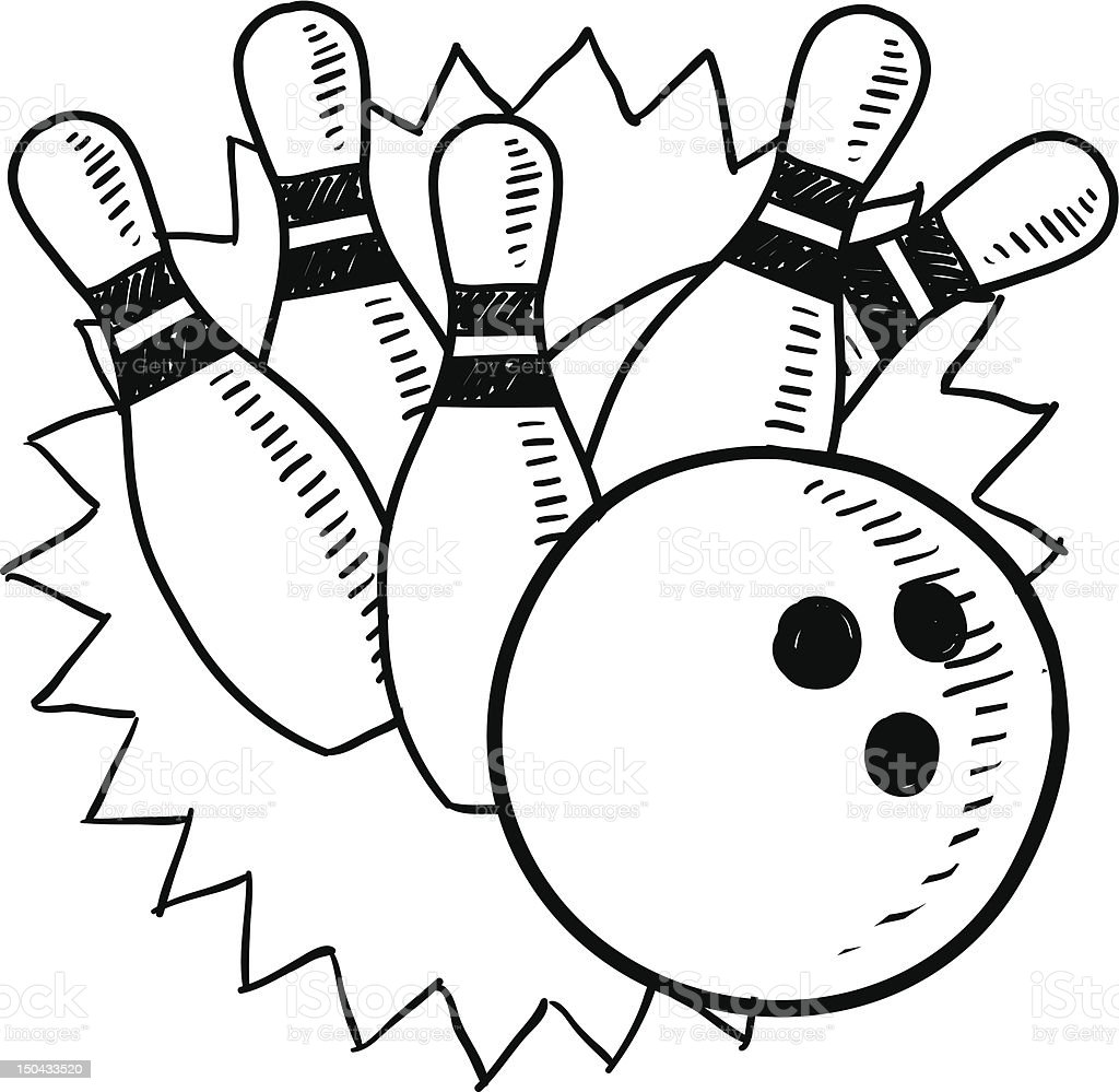 Uncategorized Bowling Pin Coloring Page bowling pins and ball sketch stock vector art 150433520 istock royalty free art