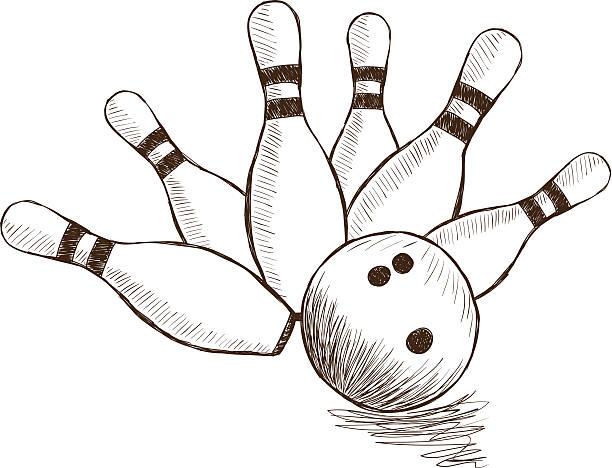Bowling Pins and Ball vector art illustration
