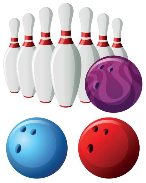 Bowling pins and balls in different colors vector art illustration