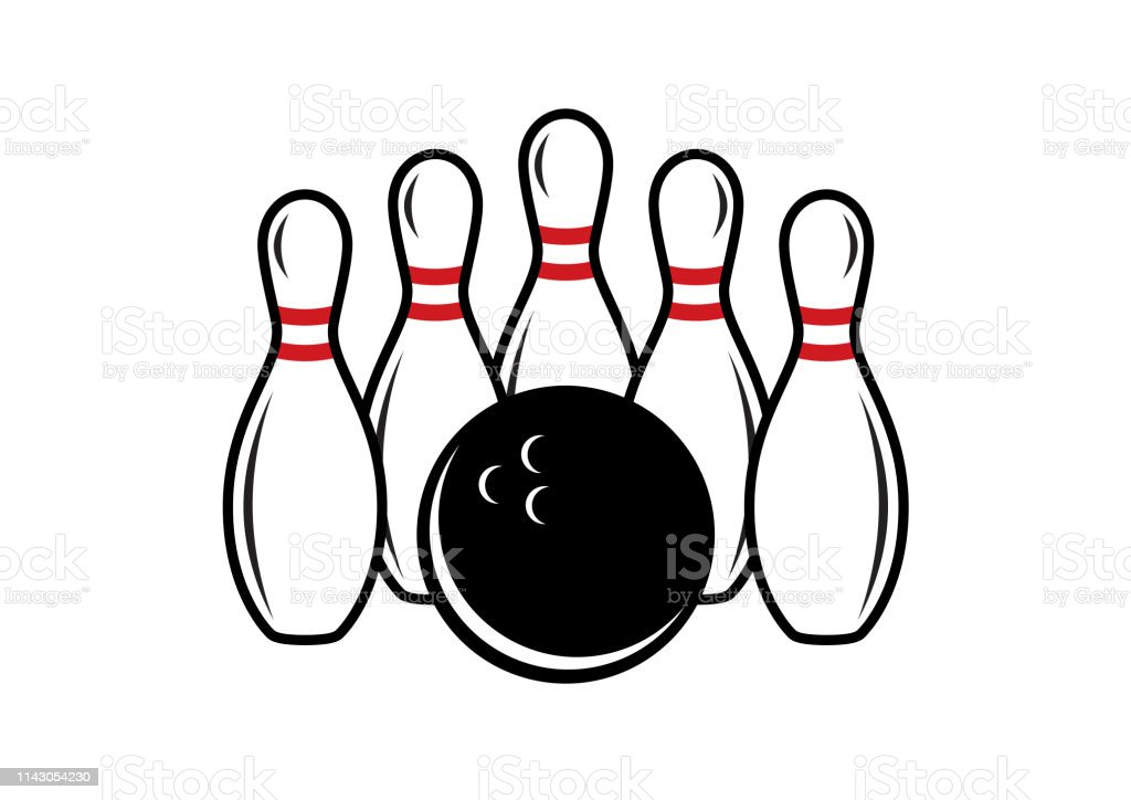 Bowling icon on a white background. Bowling logo vector. Five white...