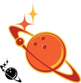 A planet icon with a bowling ball theme.
