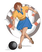 bowling player female throwing bowling ball with bowling pins in background