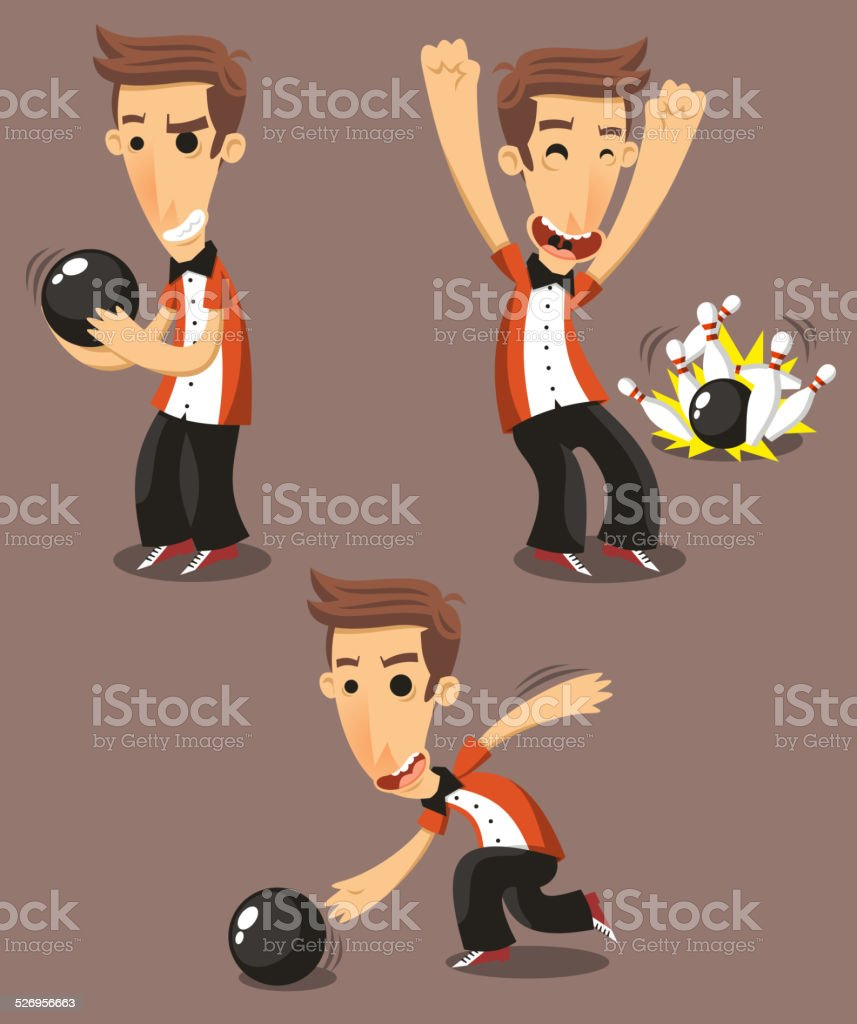 Bowling Player Set vector art illustration