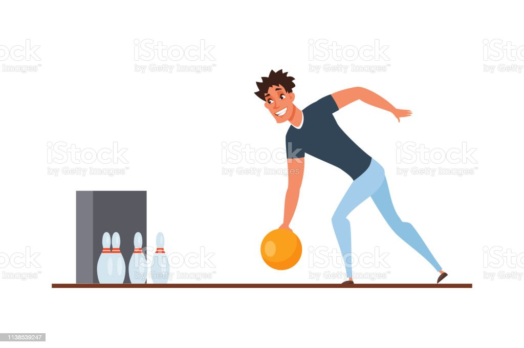 Bowling player throwing ball cartoon character. Indoor activity,...