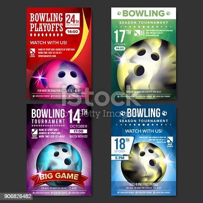 Bowling Poster Set Vector. Design For Sport Bar Promotion. Bowling Ball. Modern Tournament. Sport Event Announcement. Banner Advertising. Championship Template Illustration