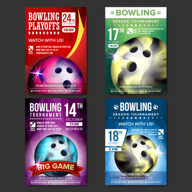 Bowling Poster Set Vector. Design For Sport Bar Promotion. Bowling Ball. Modern Tournament. Sport Event Announcement. Banner Advertising. Championship Template Illustration vector art illustration