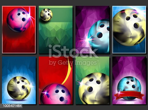 Bowling Poster Set Vector. Empty Template For Design. Promotion. Bowling Club Ball. Modern Tournament. Sport Event Announcement. Banner, Flyer Advertising. Championship Layout Blank Illustration