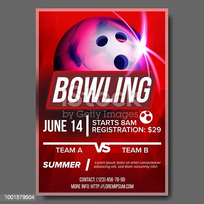 Bowling Poster Vector. Banner Advertising. Sport Event Announcement. Ball. A4 Size. Announcement, Game, League Design. Championship Layout Blank Label Illustration