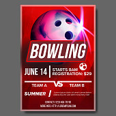 Bowling Poster Vector. Bowling Ball. Vertical Design For Sport Bar Promotion. Tournament, Championship Flyer Design. Bowling Club Flyer. Pin. Invitation Label Blank Illustration