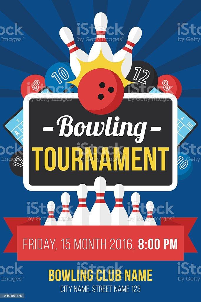 Bowling poster vector art illustration