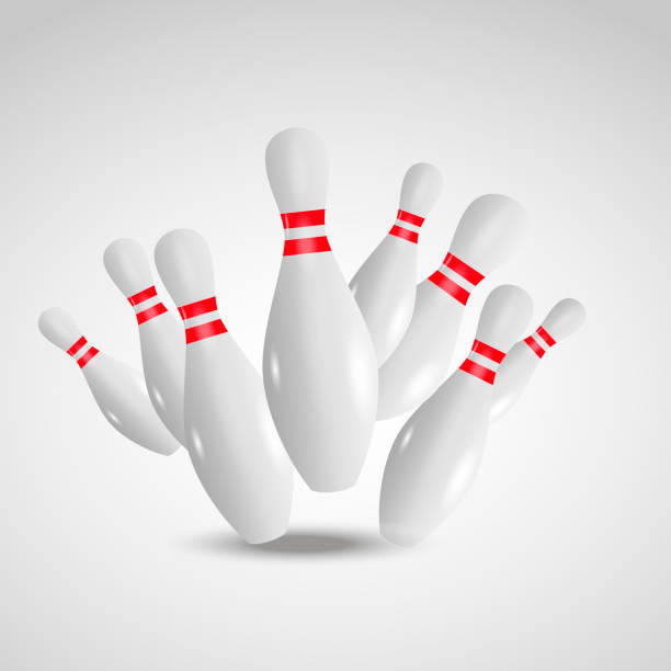 Bowling realistic illustration background. Bowling game leisure concept. vector art illustration