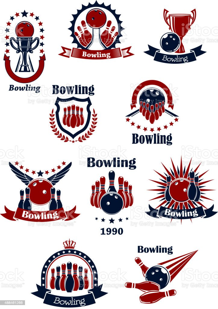 Bowling retro icons with balls and ninepins vector art illustration