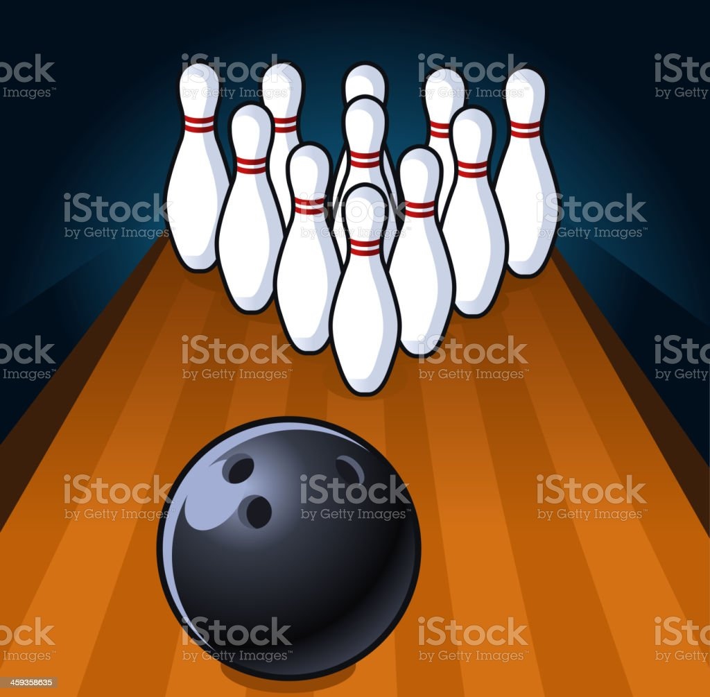 Bowling Scene up to Strike vector art illustration