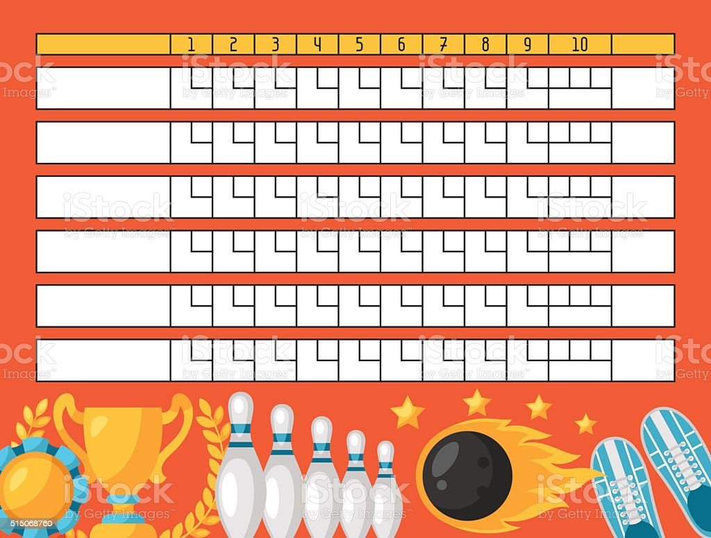 Bowling score sheet. Blank template scoreboard with game objects vector art illustration