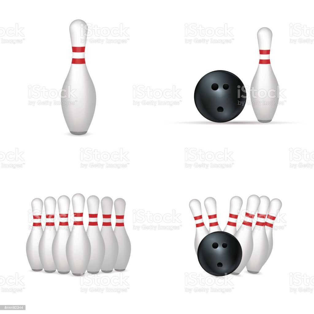 Bowling set isolated on white background. vector art illustration