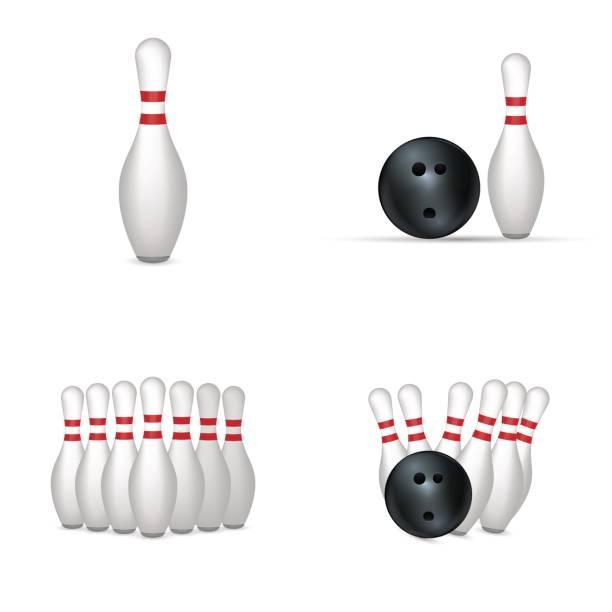 Bowling set isolated on white background. vector art illustration