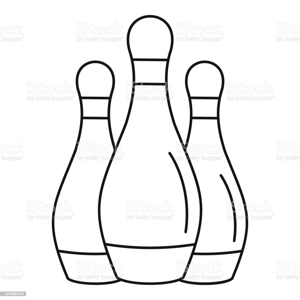 Bowling set pins icon, outline style vector art illustration