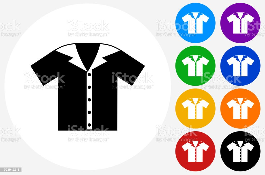 Bowling Shirt Icon on Flat Color Circle Buttons vector art illustration